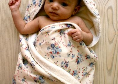 baby towel with hood and back printed